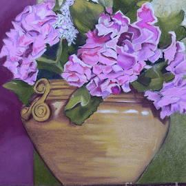 Gold Pot Pink Hydrangeas by Patty Strubinger
