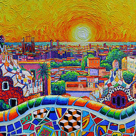 GOLD SUNRISE BARCELONA VIEW FROM GUELL PARK commissioned knife oil painting Ana Maria Edulescu by Ana Maria Edulescu