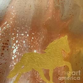 Golden acrylic horse  by Irma Duckett