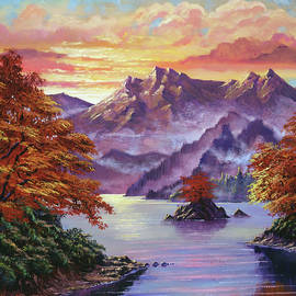 GOLDEN HOUR IN THE SHADOW OF ThE MOUNtAIN by David Lloyd Glover