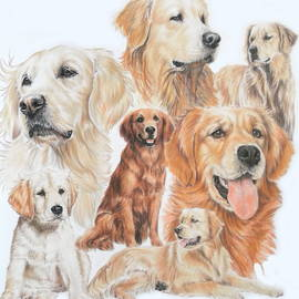 Golden Retriever Montage by Barbara Keith