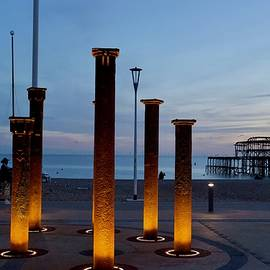 Golden Spiral and West Pier, Brighton, England. by Joe Vella
