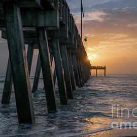 Golden Sun at Venice Fishing Pier, Florida by Liesl Walsh