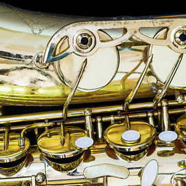 Golden Vintage Jazz Saxophone Horizontal Close Up by Andreea Eva Herczegh