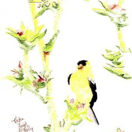 Goldfinch on Thistle by Kristen McNally