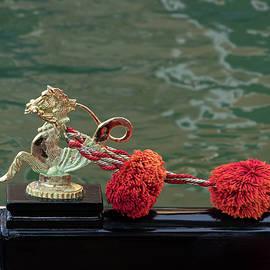 Venetian Gondola Seahorse - Gleaming Bronze Ornament and Red Pompoms by Georgia Mizuleva