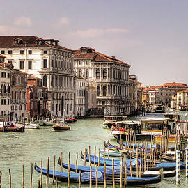 Gondolas by The Grand Canal by Nicola Nobile