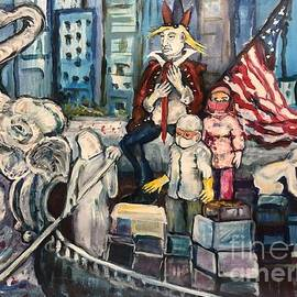 Good -Bye to the Elephant in the Room -nod to- after Washington crosses the Delaware River  by Susan Brown    Slizys art signature name