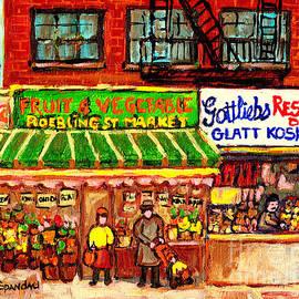 Gottlieb's Kosher Deli Roebling Fruit Market New York City Street Scene Painting Usa Cspandau Artist by Carole Spandau