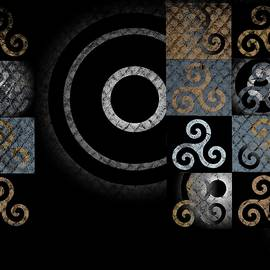 Graphic Symbols Grungy Celtic Spiral Pattern by Joan Stratton