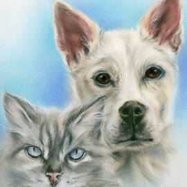 Gray Cat and Carolina Dog Portrait by MM Anderson