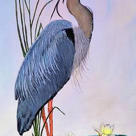 Great Blue Heron on canvas by Elaine Manley
