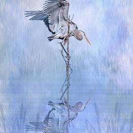 Great Blue Heron Texture Reflection - Vertical by Patti Deters