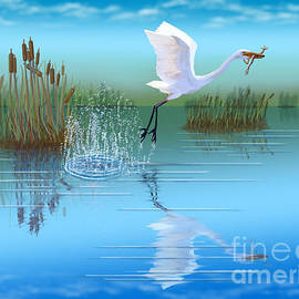 Great Egret Snacktime by Gary F Richards