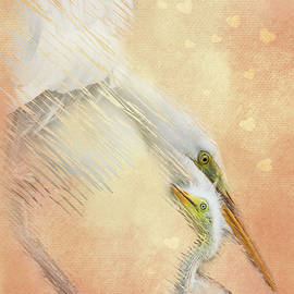 Great White Egret Tenderness by Patti Deters