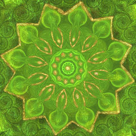 Green and Gold Mandala by Irene Moriarty