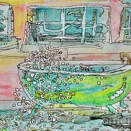 Green Bathtub- Bubblebath- painting by Patty Donoghue