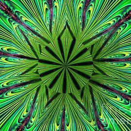 Green Fractal Kaleidoscope Mandala Under Glass Abstract by Rose Santuci-Sofranko