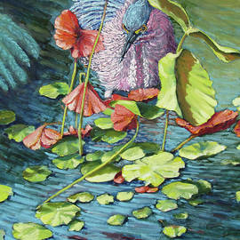 Green Heron in the Water Lillies by Thomas Michael Meddaugh