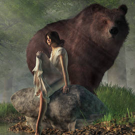 Grizzly Bear and Girl in a Nightgown by Daniel Eskridge