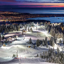 Grouse Mountain Ski resort at Dusk with a view of Vancouver city by Pierre Leclerc Photography