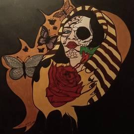 Half skull half woman acrylic painting on board  by John Jenkins