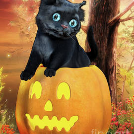 Halloween Black Kitten and Pumpkin by Alicia Hollinger
