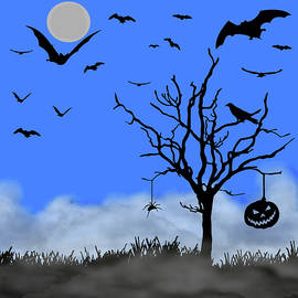 Halloween Tree Blue Pane 2 by David Dehner