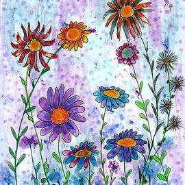 Happy Field of Whimsy Colorful Wildflowers  by Ramona Matei