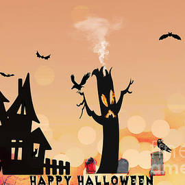 Happy Haunted Spirits Halloween by Diann Fisher