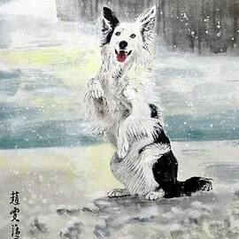 Happy Puppy in the Snow by Carmen Lam