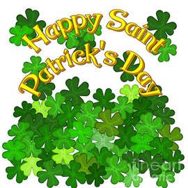 Happy Saint Patricks Day with Shamrocks by Colleen Cornelius