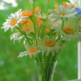 Happy Summer Flowers  On Windowsill. by Alexander Vinogradov