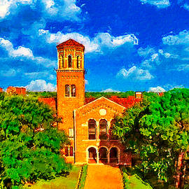 Hardin Administration Building at Midwestern State University in Wichita Falls - digital painting by Watch And Relax