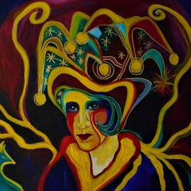 Harlequin Queen With Friend by Carolyn LeGrand