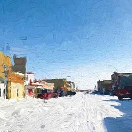 Harlowton Montana Street Winter - Painting by Tatiana Travelways