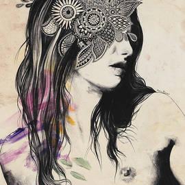Harmonic Tremors - mandala nude female portrait by Marco Paludet