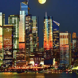Harvest Moon over NYC and Hudson River by Regina Geoghan