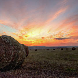 Hay Bales At Sunrise by Gary Beeler
