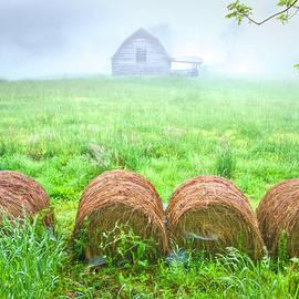 Hay Bales in the Fog by Debra and Dave Vanderlaan