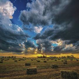Hay Harvest Sunset by Christopher Thomas