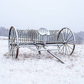Hay Rake Snowscape by Marty Saccone