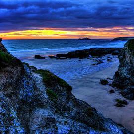 Hayle Beach Godrevy Lighthouse Sunset by Paul Thompson