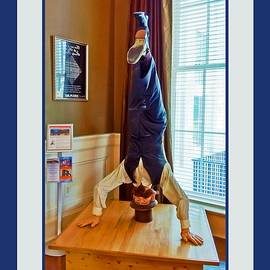 Head Over Heels Man with Blue and White Border by Marian Bell