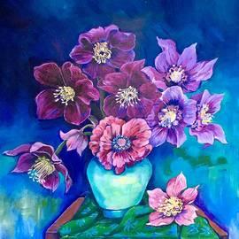 Hellebores in Celadon Vase by Natasha Ruffio