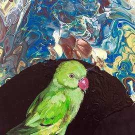 Hello There, Green Indian Ringneck Parakeet by Danielle Rosaria