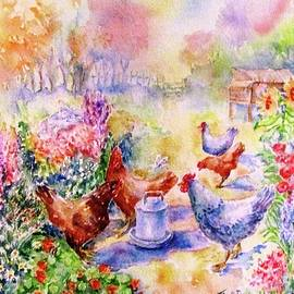 Hens in the Flower Garden  by Trudi Doyle