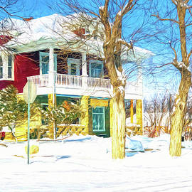 Heritage Mansion At Wintertime In Roundup, Montana - Pencil Colored by Tatiana Travelways