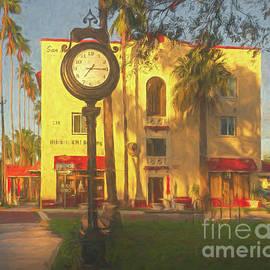 Historic Clock at KMI Building, Venice, Florida, Painterly by Liesl Walsh