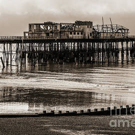 Historic Hastings Pier, built in 1872 and damaged by fire in 1972 and 2010, Sussex, UK by Terence Kerr